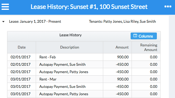 Collect Rent Online - Lease History