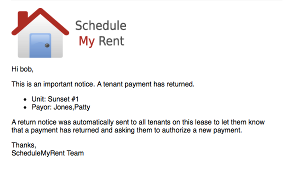 Collect Rent Online - Tenant Returned Payment Landlord e-mail