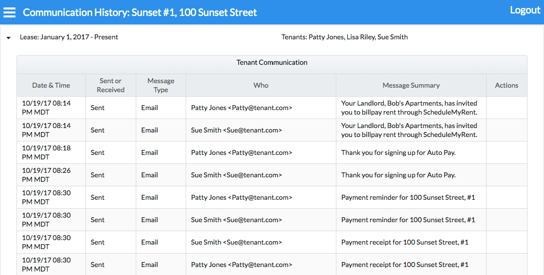Collect Rent Online - Tenant e-mail list
