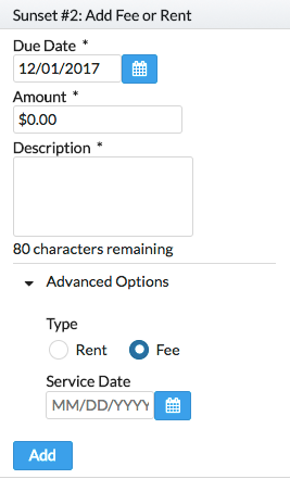 Landlord Software - Add Utility Fee
