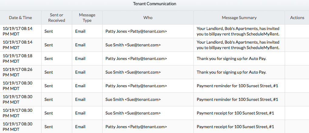 Landlord Software - Tenant e-Mail Screen