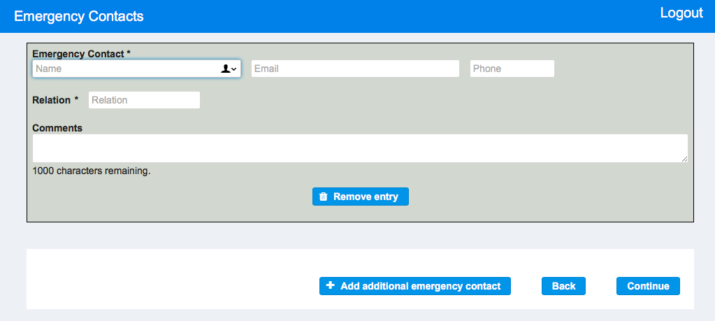 Online Tenant Application - Emergency Contacts